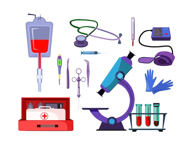 Medicine items illustration set