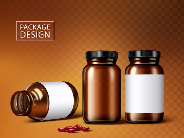 Medicine jars and capsules, isolated transparent background