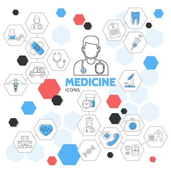 Medicine line icons in hexagons collection with doctor nurse pills ambulance car tooth medical equipment