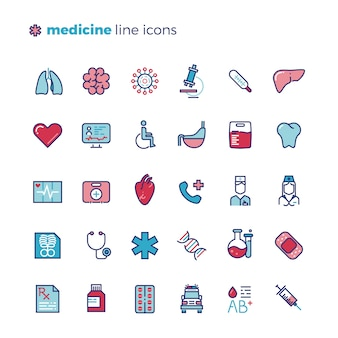 Medicine and medical equipment line icons