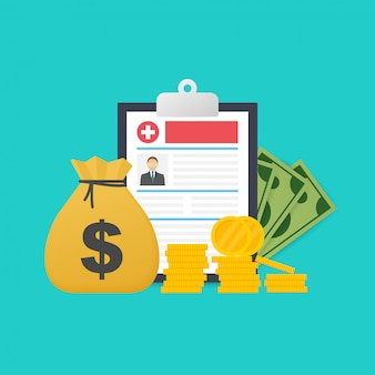 Medicine and money concept. health insurance form concept. filling medical documents.