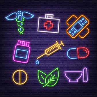 Medicine neon icons
