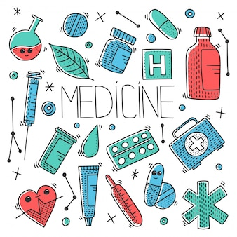 Medicine objects seamless pattern in doodle style.