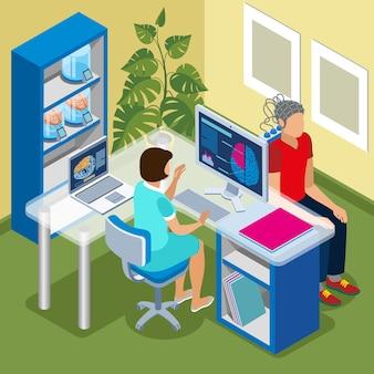 医師のオフィスとコンピューターの脳スキャン手順で予定と将来の等尺性組成の医学