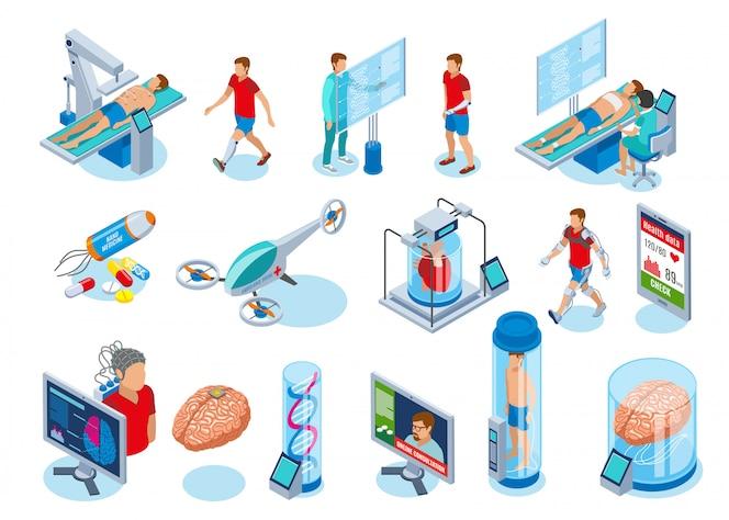 차세대 의료 장비와 격리 된 이미지의 미래 아이소 메트릭 아이콘 모음의 의학