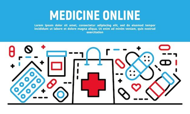 Medicine online banner, outline style