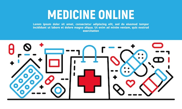 Медицина онлайн баннер, стиль контура
