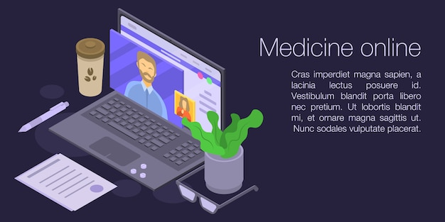 Medicine online concept banner, isometric style