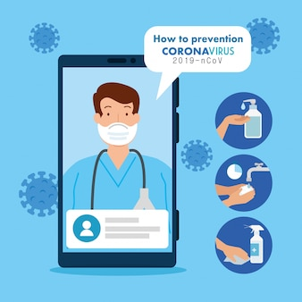 Medicine online, doctor consults in smartphone online, covid 19 pandemic   illustration design