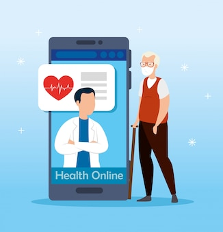 Medicine online technology with smartphone and men Premium Vector