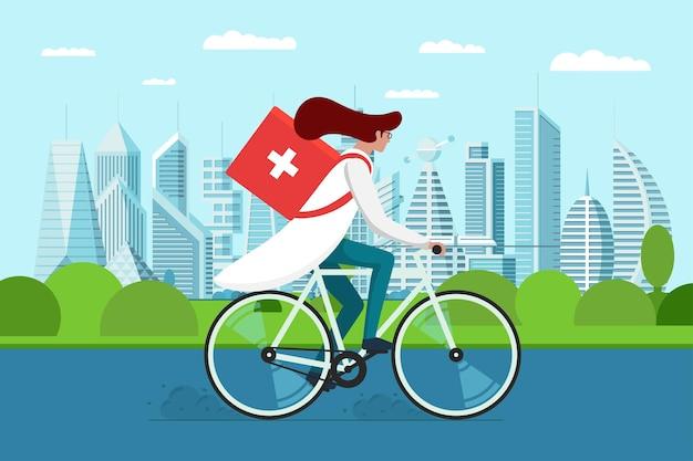 Доставка лекарств из аптек. женщина-врач езда на велосипеде с медицинской санитарной коробкой первой помощи на дороге городского парка. женщина-терапевт фармацевт неотложной помощи на векторной иллюстрации eps цикла