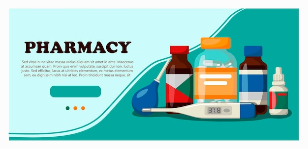 Medicine pharmacy hospital set of medicines with labels banner for a website with medical items