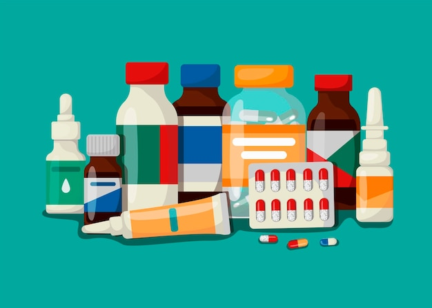 Medicine, pharmacy, hospital set of medicines with labels. the concept of medical subjects. vector illustration in cartoon style.