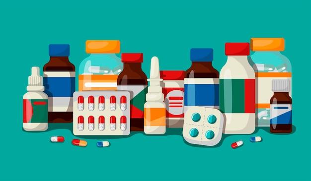 ラベル付きの薬、薬局、病院の薬のセット。医学的主題の概念。漫画のスタイルでベクトルイラスト。