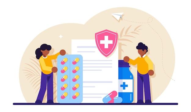 病気の治療と処方箋のための薬。薬の概念。