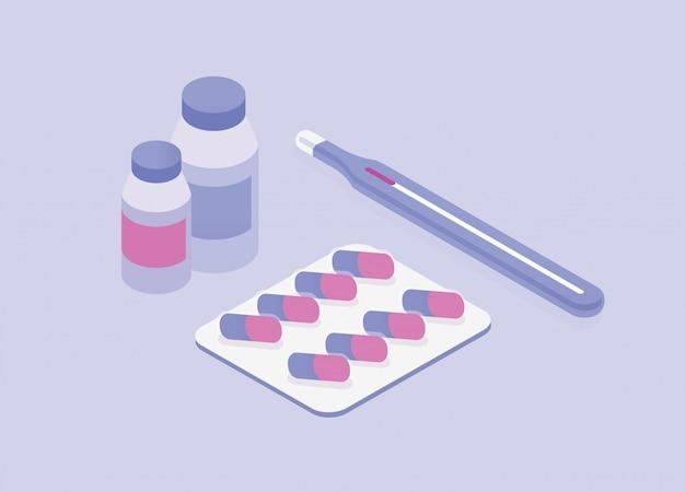 Медицина таблетки и бутылки термометр изометрии иллюстрации. медицинские таблетки изолированы. фармацевтическая капсула и витамины для здравоохранения. лечение медикаментами