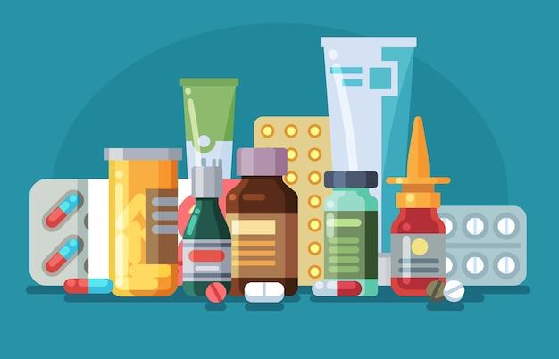 薬。薬の入った丸薬、カプセル、ガラス瓶、軟膏の入ったチューブ、薬のスプレー。薬理学的ヘルスケア