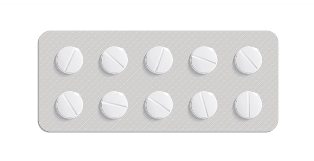 흰색 배경에 약 알 약입니다. 알약 포장. 바이러스 치료법. 비타민 또는 바이오 보조제와 알약. 3d