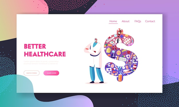 Medicine price and service cost landing page template.