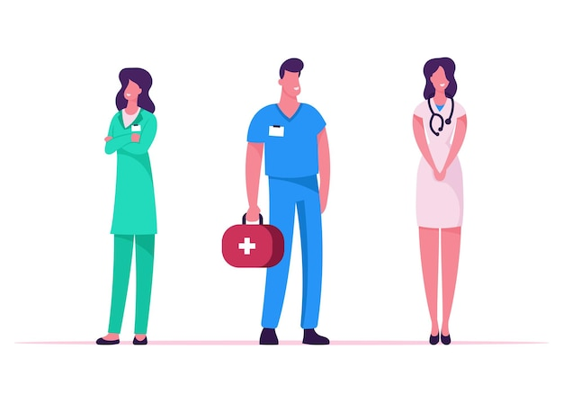 Medicine profession, occupation. cartoon flat  illustration