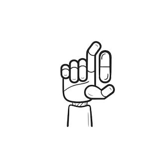 Рука робота медицины с таблеткой рисованной наброски каракули значок. искусственный интеллект, концепция машины медицины. векторная иллюстрация эскиз для печати, интернета, мобильных устройств и инфографики на белом фоне.