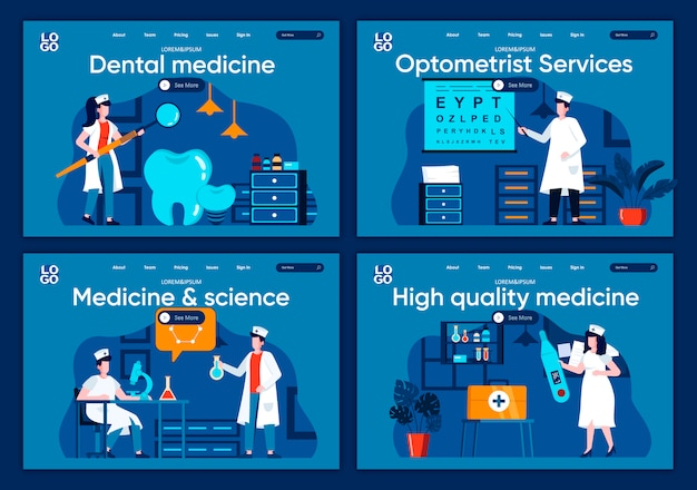 Medicine and science flat landing pages set. laboratory diagnostics, pharmacology research scenes for website or cms web page. high quality dental medicine and optometrist services illustration