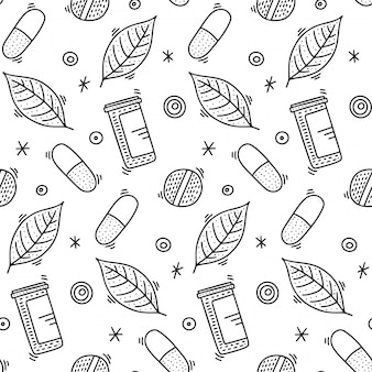 Medicine seamless pattern in doodle style