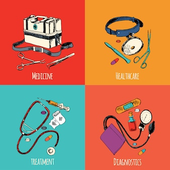 Medicine sketch elements color set