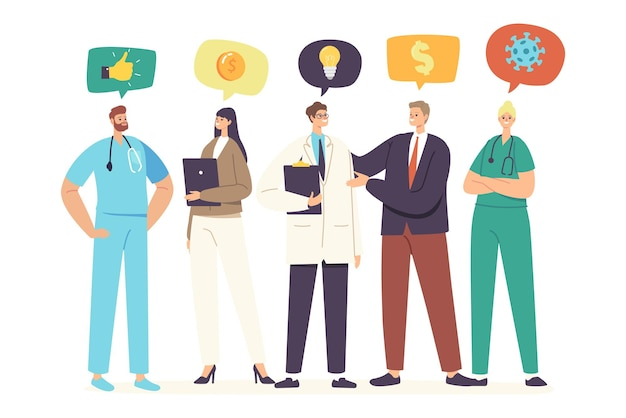 Medicine sponsorship concept. businessman character visiting hospital as sponsor, meeting with doctors offering support, donation and help in finance issues. cartoon people vector illustration
