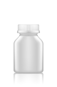 Medicine square bottle mockup isolated on white background. plastic package design.