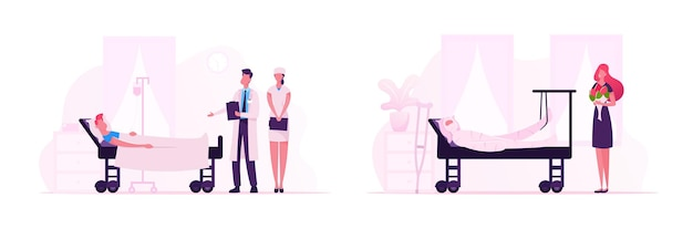 Medicine staff and visitors in traumatology department in hospital. girl with bouquet visit friend in clinic. doctor and nurse chamber detour for patient treatment. cartoon flat vector illustration