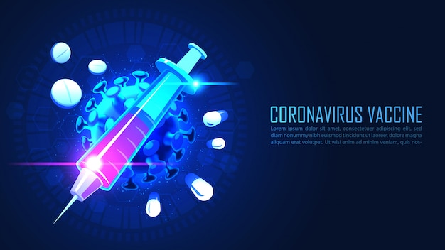 Medicine syringe with vaccine serum against coronavirus in graphic concept