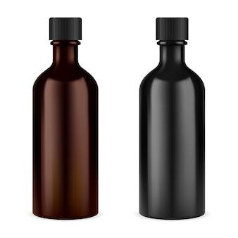 약 시럽 병. 갈색 유리 나사 캡 항아리. 에센셜 오일 바이알. 검은 색 또는 갈색의 처방약 현탁액 또는 기침 팅크 용기 공란