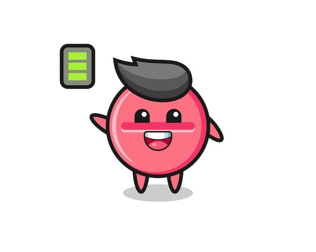 エネルギッシュなジェスチャー、かわいいデザインの薬のタブレットマスコットキャラクター