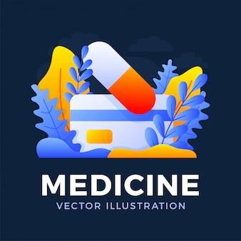 Таблетка медицины при иллюстрация запаса кредитной карточки изолированная на темной предпосылке. концепция оплаты концепции для лекарств с картой. обратная сторона карточки с текстом