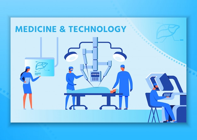 Medicine and technology advertising people poster