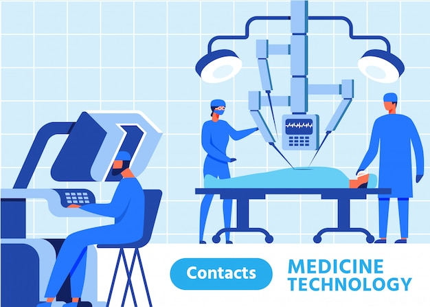Medicine technology banner with contacts button