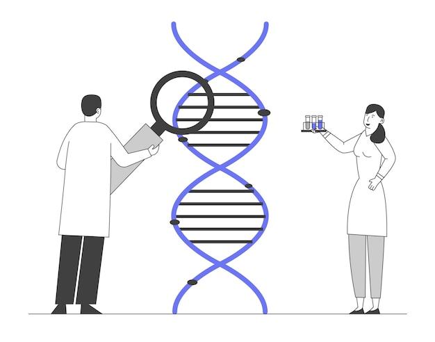 의학 기술 유전 검사. 일하는 과학자