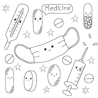 Medicine theme coloring book page for kids