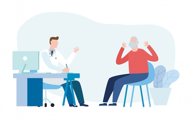 Medicine  with psychiatrist doctor and old patient. practitioner doctor and senior man patient in hospital medical office. consultation and diagnosis of mental health.  illustration flat