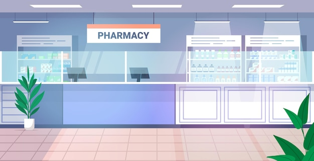 Medicines arranged in shelves empty no people pharmacy modern drugstore interior horizontal vector illustration