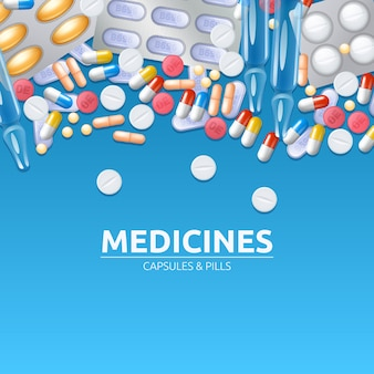 Medicines background with colored pills tablets and capsules