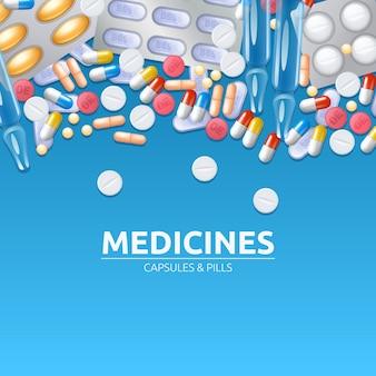 Fondo delle medicine con le compresse e le capsule colorate delle pillole