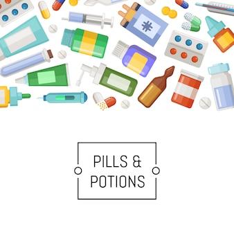 Баннер лекарств, таблетки и зелья с местом для текста