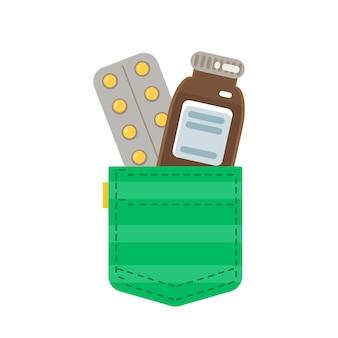 녹색 주머니 안에 있는 의약품 코로나바이러스 covid19의 시대