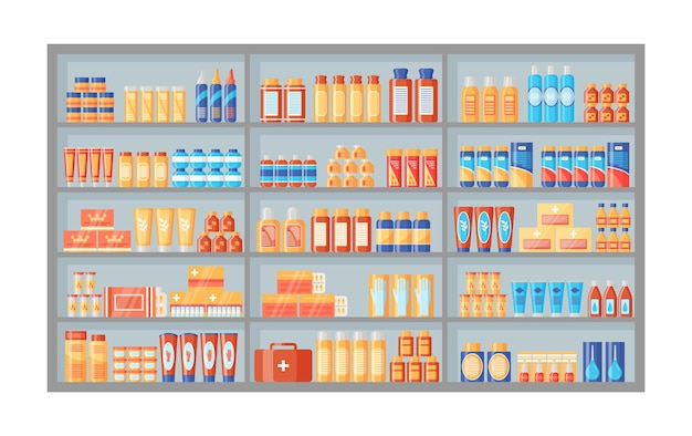 Medicines on pharmacy shelf. drugstore shelves with medical products and medications. illustration