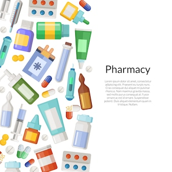Medicines, pills and potions with place for text