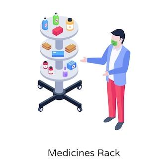 Medicines rack vector in isometric design