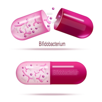 Medicines with probiotic bacteria realistic vector