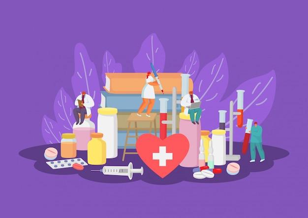 医師、医療従事者、医学治療ヘルスケアミニチュア人イラストとメディックコンセプト。